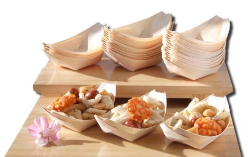Bamboo Wood Boats x100 for party foods, snacks, nibbles, canapé 115X75mm - GOTO